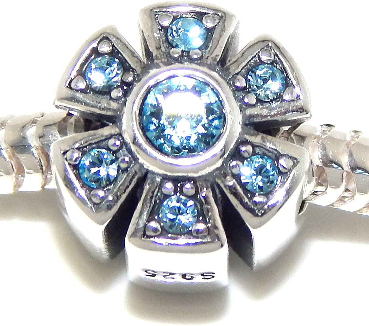 925 Sterling Silver Flower with Blue CZ Charm Bead 551