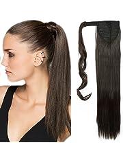 "23""(58cm) Coleta Postiza de Pelo Sintético Liso con Clips Extensiones de Cabello Invisible y Natural Ponytail Hair Extension (90g,Castaño Oscuro)"