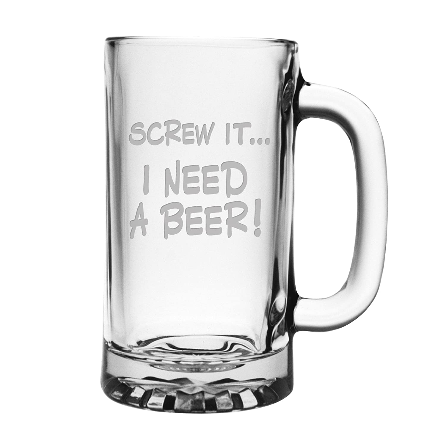 Two 16 ounce Sandblast Etched Funny Glass Beer Mugs I Need a Beer Fineware Screw It..