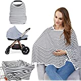 Baby Nursing Cover & Nursing Poncho - Multi Use Cover for Baby Car Seat Canopy, Shopping Cart Cover, Stroller Cover, 360° Ful