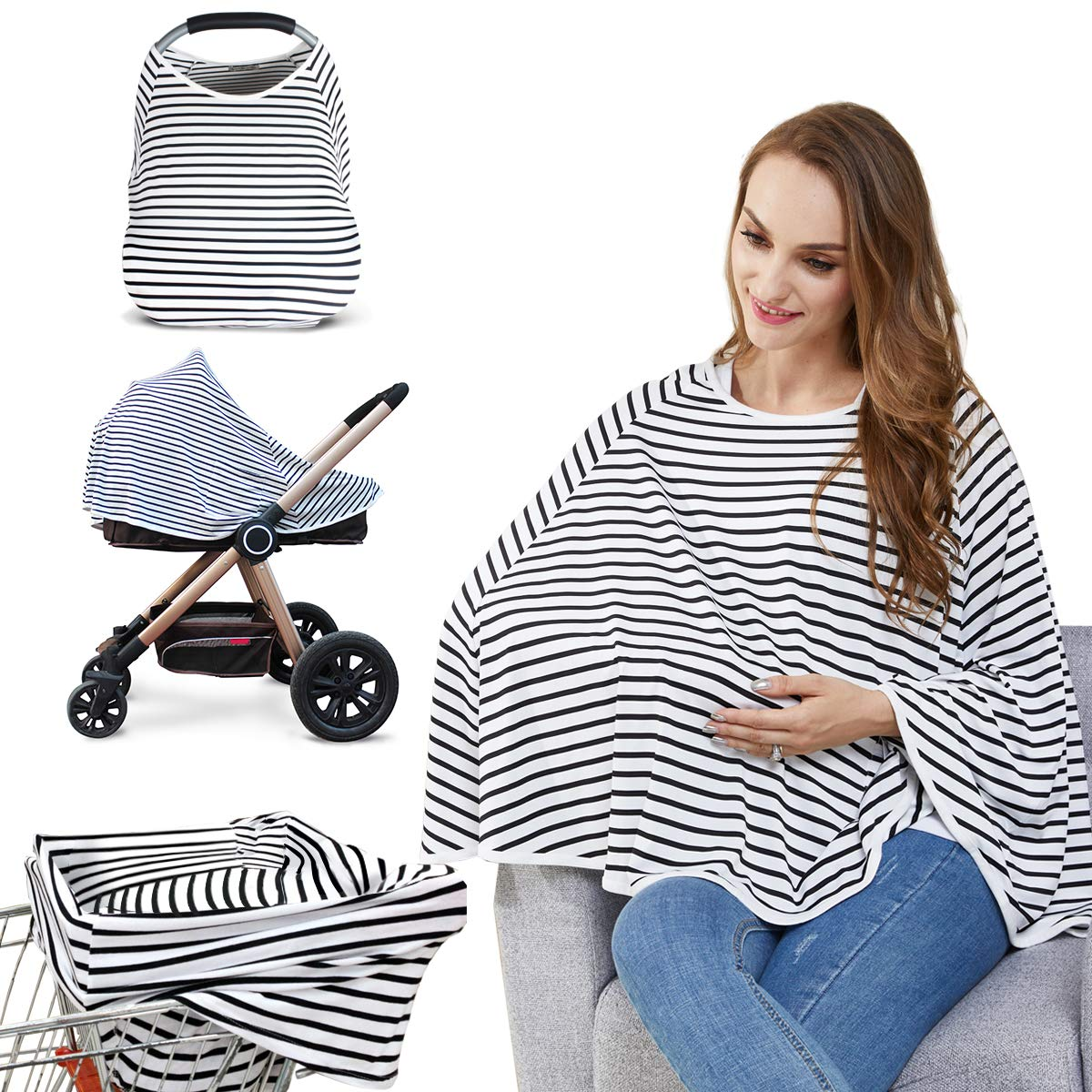 Amazon Com Baby Nursing Cover Nursing Poncho Multi Use Cover For Baby Car Seat Canopy Shopping Cart Cover Stroller Cover 360 Full Privacy Breastfeeding Coverage Baby Shower Gifts For Boy Girl Baby