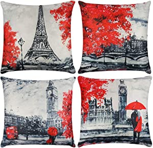 Decorative Red Throw Pillow Covers 18x18 Inches Black & Red Color Eiffel Tower & Big Ben Lovers Pillow Case Cushion Cover Burlap for Sofa, Living Room, Bedroom, Indoor or Outdoor Pillowcase, Set of 4