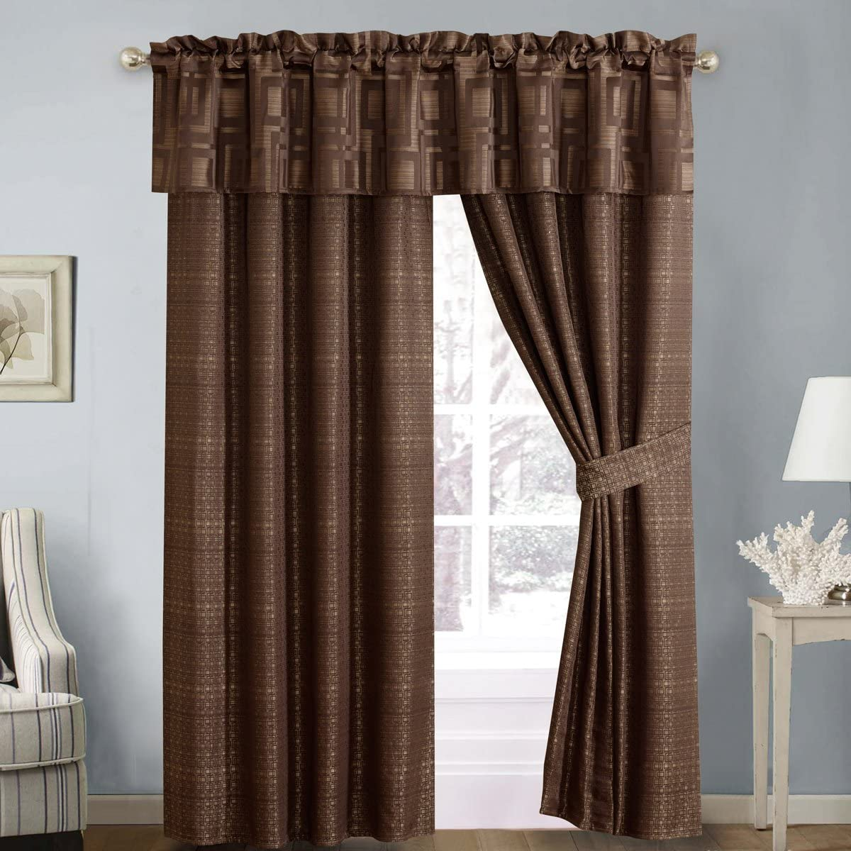 Royal Hotel Janet 5PC Jacquard Lined Window Curtain Panel Set, 2 Panels 84 inches Long, 1 Valance and 2 Tiebacks