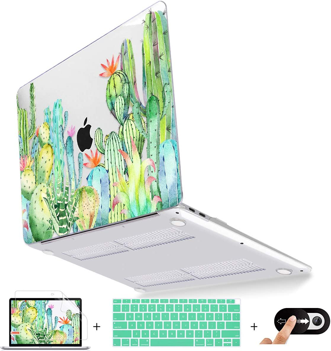 Metron MacBook Air 13 inch Case A2179 A1932 2020 2019 2018 Release, Plastic Hard Shell Case Cover for Apple Mac Air 13 Retina Display with Touch ID, Watercolor Cactus