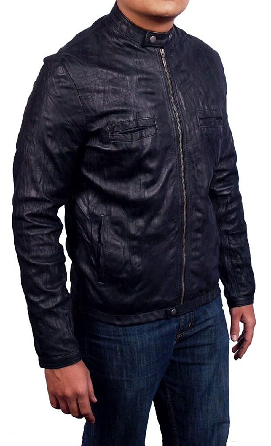 Oblow Wrinkled black Leather Jacket made in Sheep Napa Leather