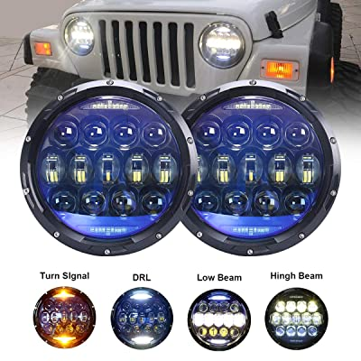 130W Exclusive Blue Projector Lens Brightest 7 inch LED Headlights Amber Turn Signal/DRL Bulbs Kit for Jeep Wrangler JK LJ JKU TJ CJ Sahara Rubicon Freedom Dragon Edition Unlimited Headlamps: Automotive