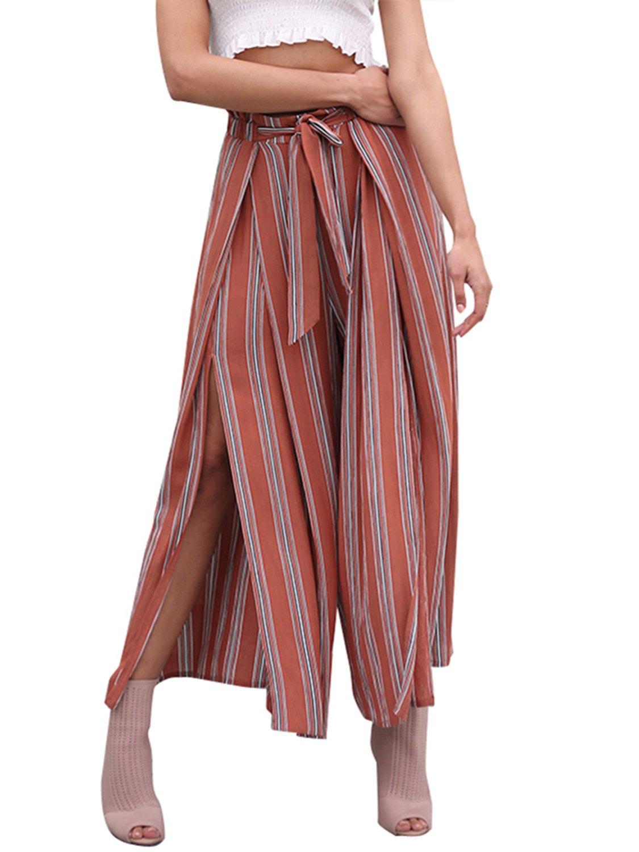 BerryGo Women's BohoHighWaistSplitStripeWideLegPants Rust Red Stripe,M