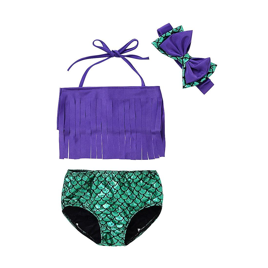 Baby Girls 3 Pcs Swimwear Tassels Halter Top+Lovely Mermaid Bottom+Headband Swimsuit