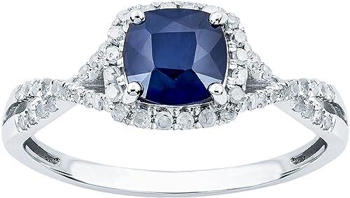 10k White Gold Genuine Square Sapphire and Diamond Ring