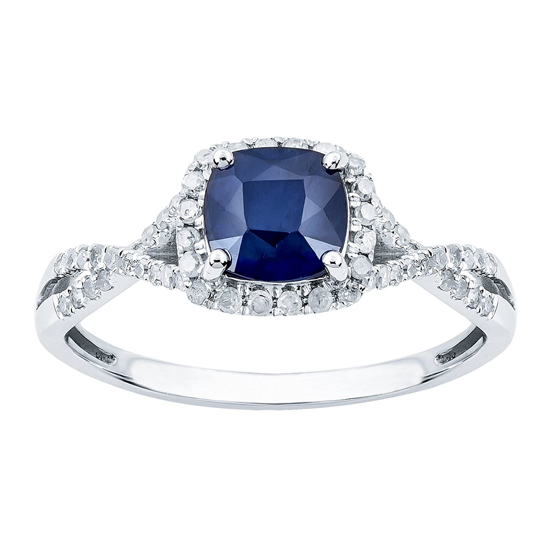 10k White Gold Genuine Cushion Sapphire and Diamond Halo Ring Instagems RG21420PGSA-PRT