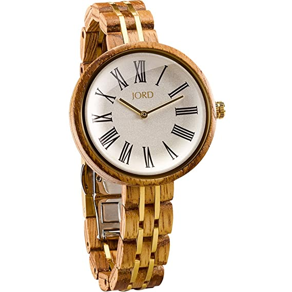 Jord madera muñeca relojes para las mujeres - Cassia serie/madera y metal reloj banda/madera Bisel/cuarzo analógico - incluye caja de madera reloj: ...