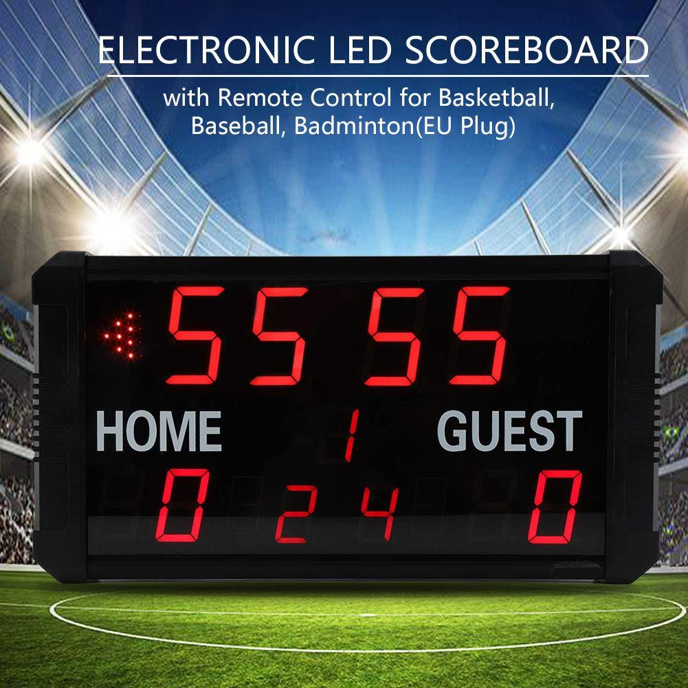 Marcador Electronico con Control Remoto para Baloncesto B/ádminton B/éisbol Negro 45 /× 25.5 cm