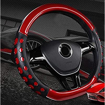 "Mayco Bell D Cut Steering Wheel Cover - D Shaped Flat Bottom Microfiber Leather Anti-Skid Breathable Fit 14.5""-15\"" (Red): Automotive [5Bkhe2007728]"
