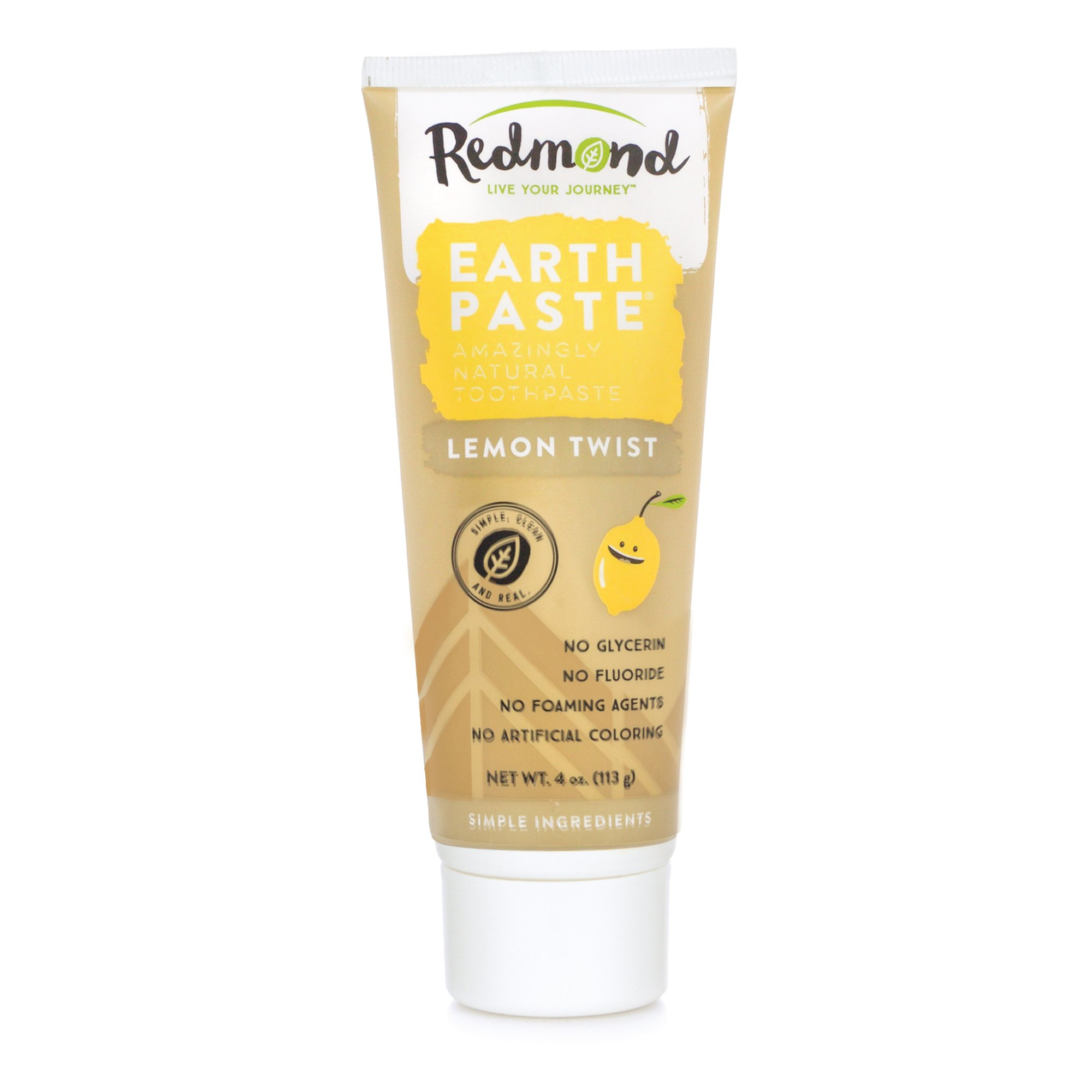 Redmond Earthpaste - Natural Non-Flouride Toothpaste, LemonTwist, 4 Ounce Tube (2 Pack)
