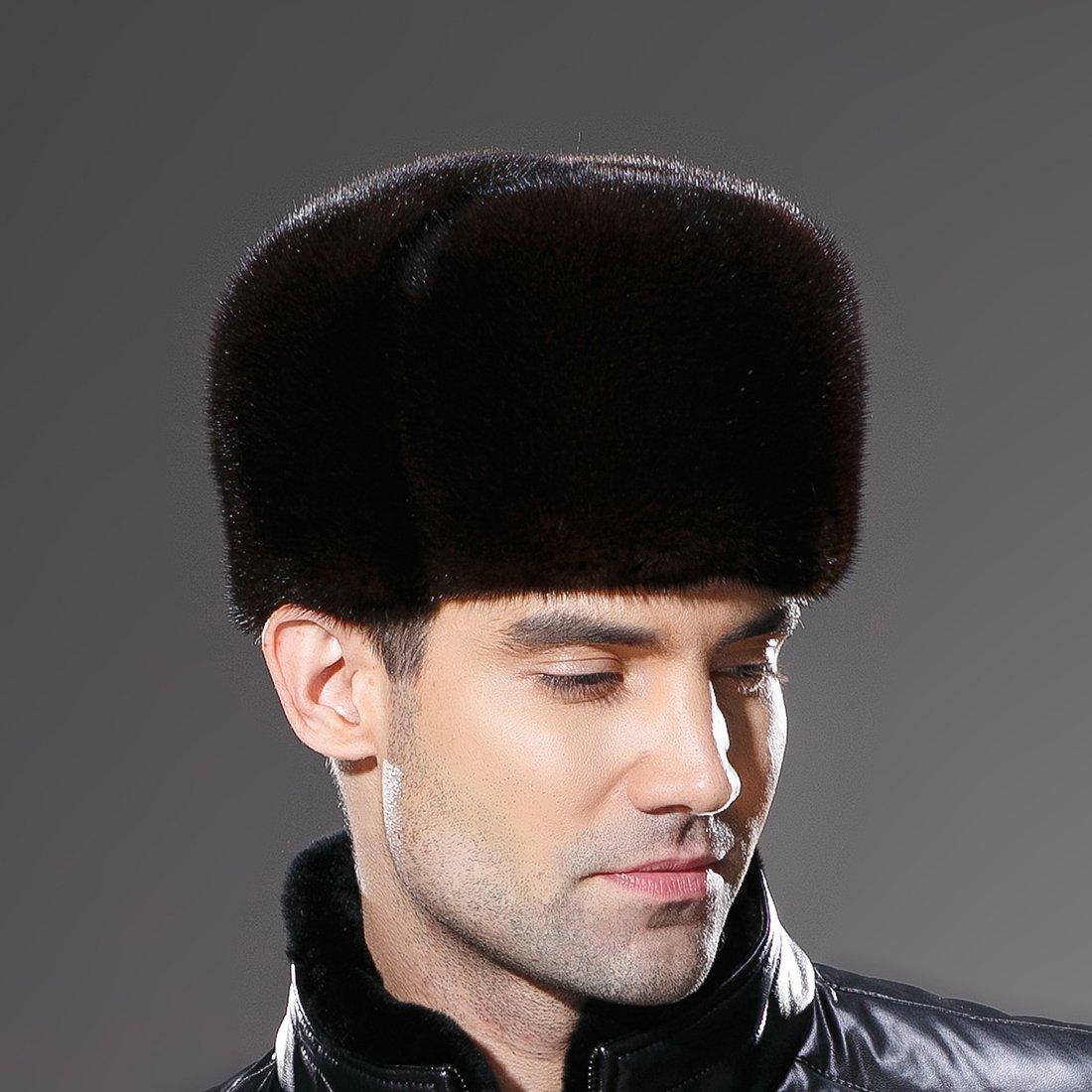 URSFUR Russian Fur Ushanka Hat Mens Winter Real Min Fur Trapper Cap Brown L by URSFUR (Image #7)