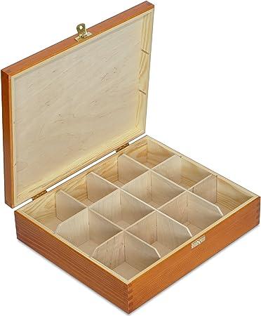 Creative Deco Aliso Caja para Té en Bolsitas Madera | 12 Compartimentos | 29 x 25 x 7,5 cm | Varias Medidas Disponibles | con Tapa y Cerradura | Ideal para Decoupage, Decoración y Almacenaje: Amazon.es: Hogar