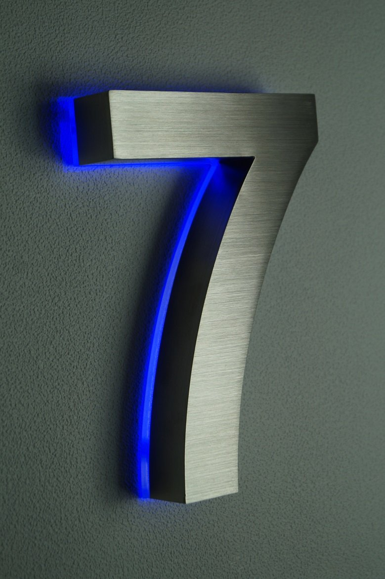 HAUSNUMMER EDELSTAHL (7 LED blau) H18cm/180mm / Arial in 3D / LED ...
