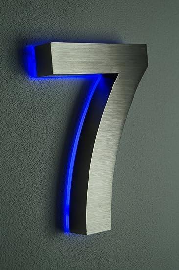 HAUSNUMMER EDELSTAHL (7 LED blau) H18cm/180mm/Arial in 3D/LED weiss ...