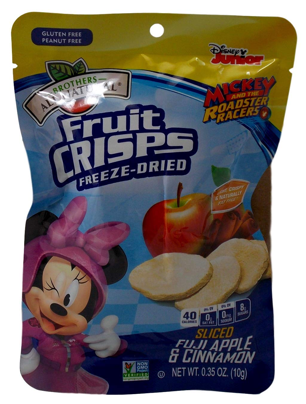 Brothers-ALL-Natural Freeze Dried Fruit Crisps Disney Mickey Mouse Sliced Apples With 100% Pure Cinnamon 12 Pack, .35 Oz. Ea. (12 Bags Total) by Brothers