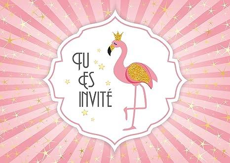 Edition Colibri 10 Invitations En Francais Flamant Rose Lot De 10