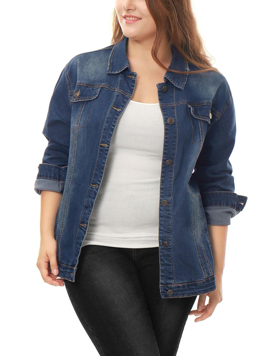 Allegra K Women's Plus Size Button Down Washed Denim Jacket w Chest Flap Pocket g16060200ux0003