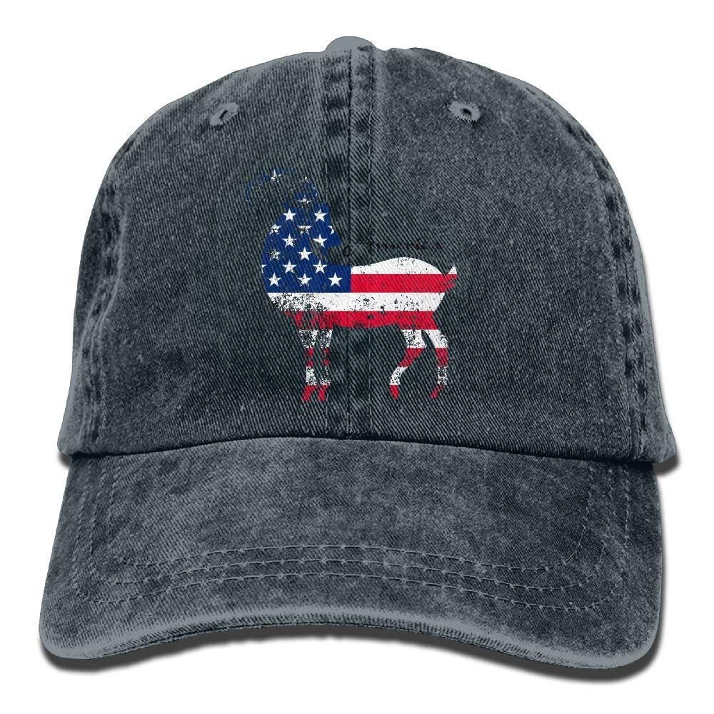 JTRVW Goat USA Flag Man Unisex Cowboy Baseball Caps Style Low Adjustable Baseball Cap Hat