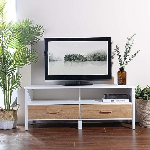 Yata Home Mueble de TV con Soporte de 2 cajones, Mueble para TV, Mueble de Consola Multimedia Moderno con Soporte para Almacenamiento de salón para televisores y Pantallas LCD LED 121X38X47CM: Amazon.es: