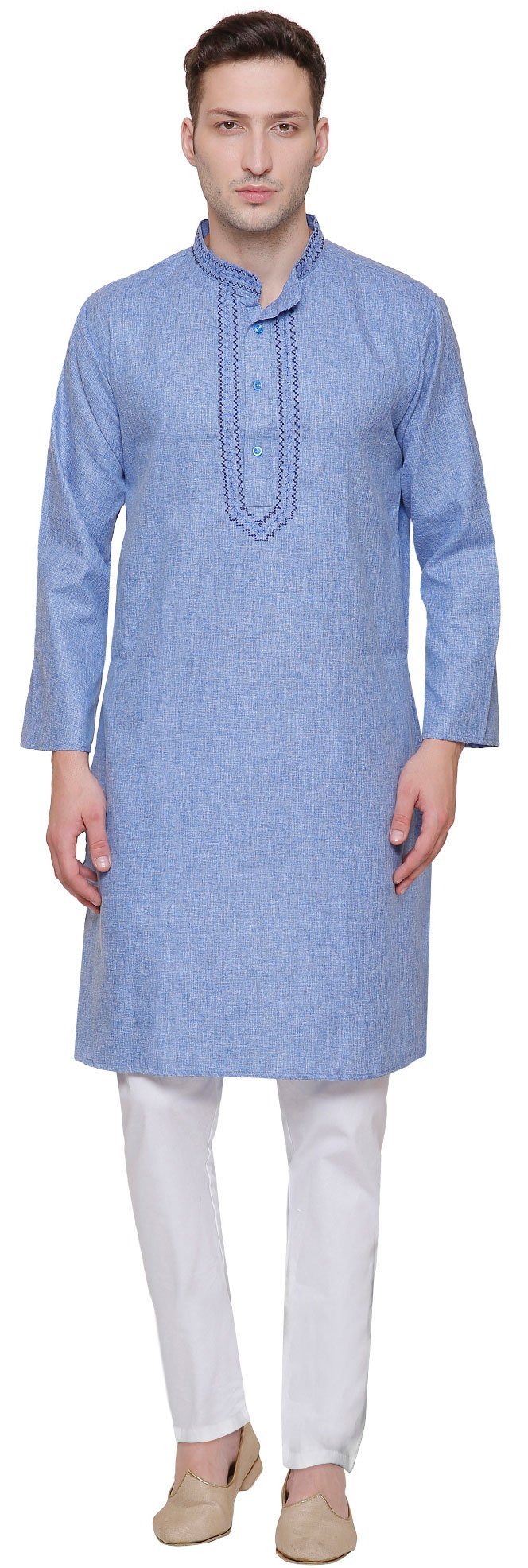 Embroidered Cotton Mens Kurta Pyjama Indian Clothes (Blue, L)
