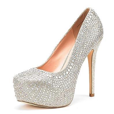3ebe4dd2170 DREAM PAIRS Women s Swan-30 Shine Gold High Heel Plaform Dress Pump Shoes -  5.5