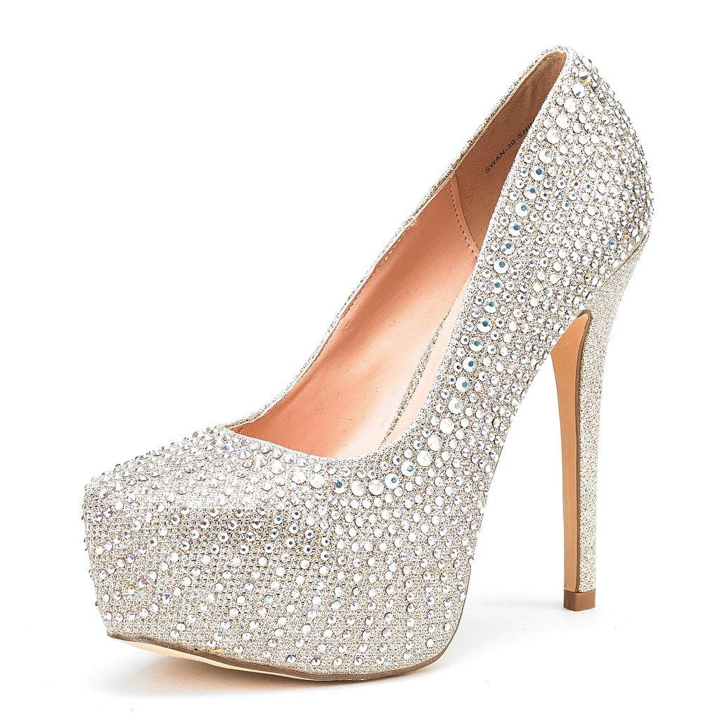 DREAM PAIRS Women's Swan-30 Shine Gold High Heel Plaform Dress Pump Shoes - 9.5 M US