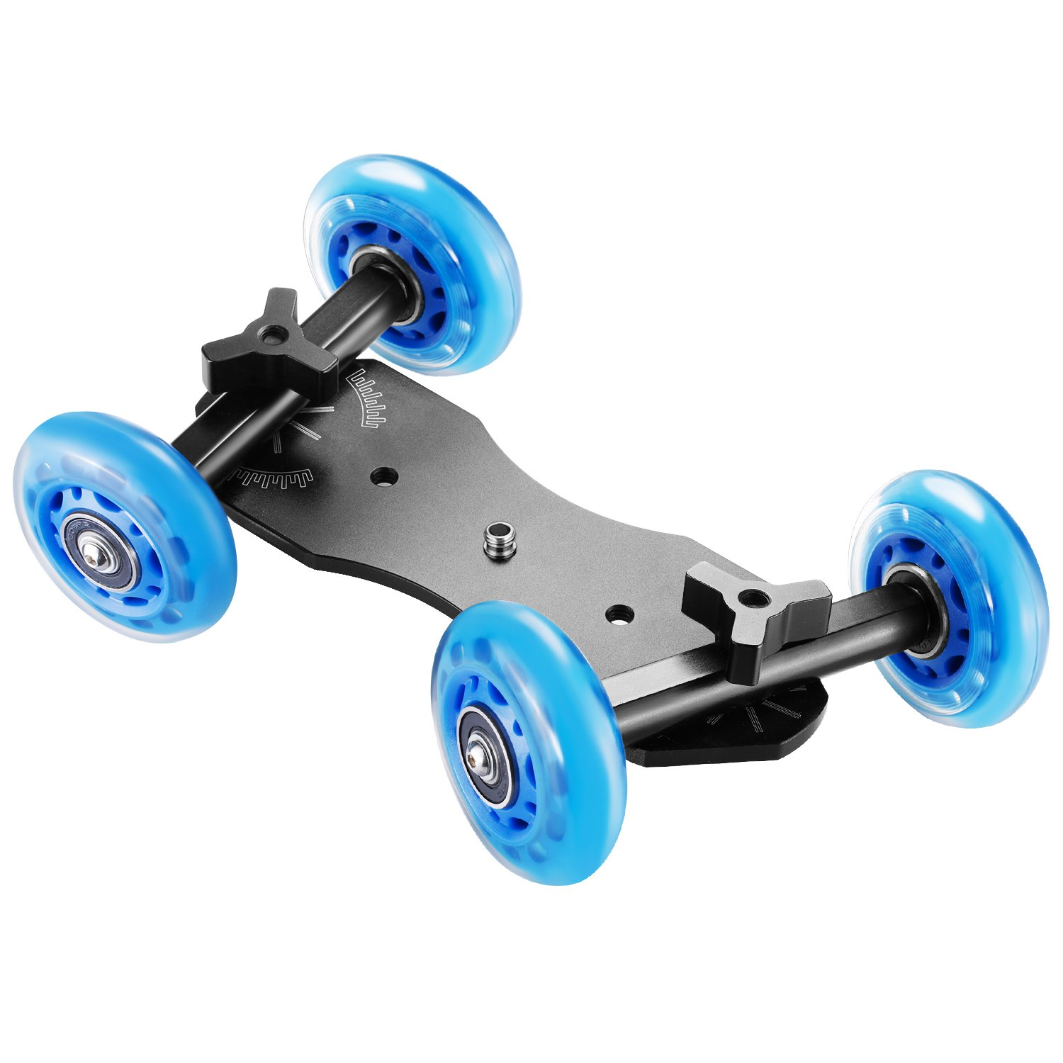 Black//Blue Neewer Noise-Free Table Dolly Car Rolling Slider Skater Aluminum Alloy Board and Rotatable Fluid Silicone Wheels,22 Pounds//10 Kilograms Load Capacity for DSLRs Video Camcorders