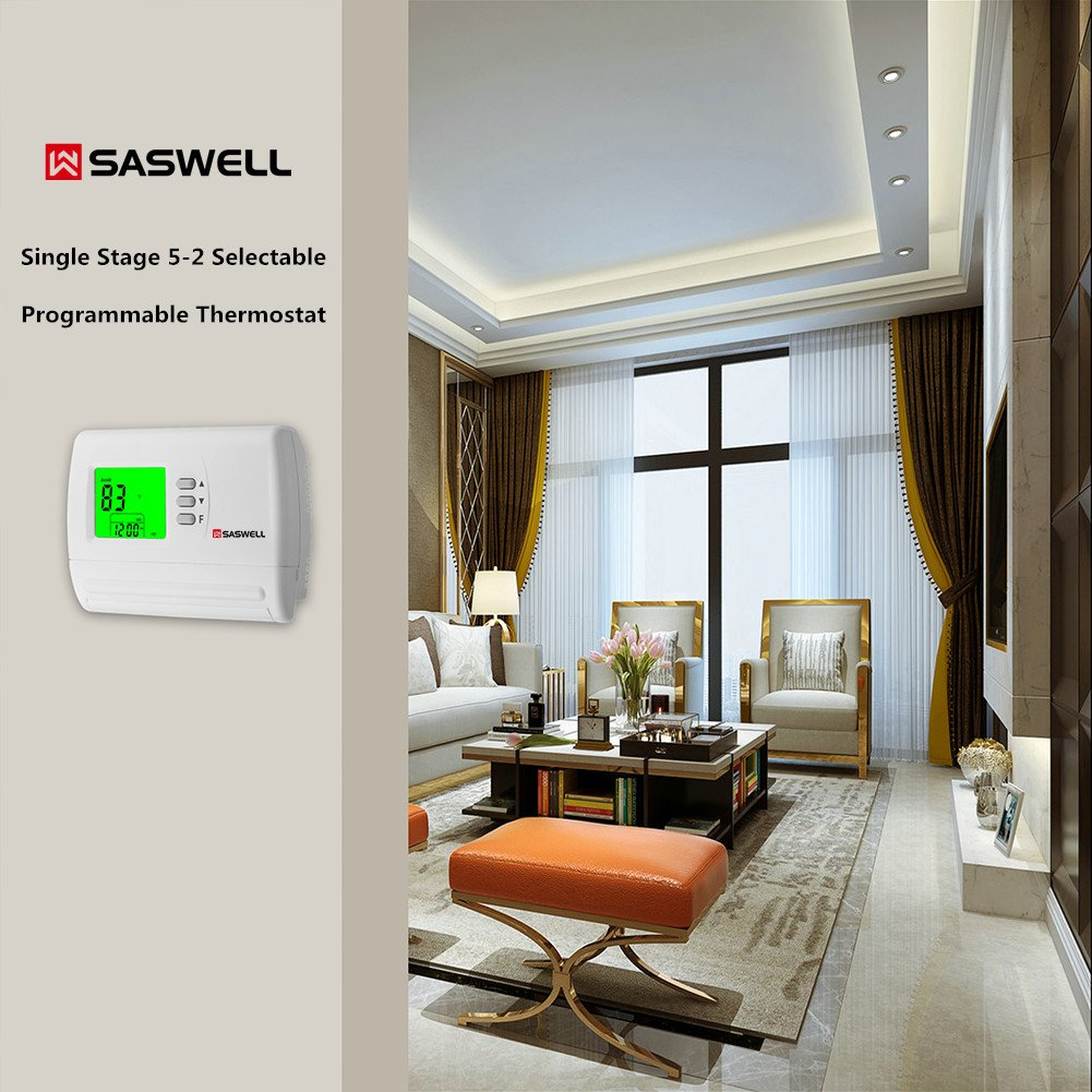 Single Stage 5-2 Programmable Thermostat,24 Volt or Millivolt System,1 Heat 1 Cool,Saswell SAS900STK-2 by Saswell (Image #7)