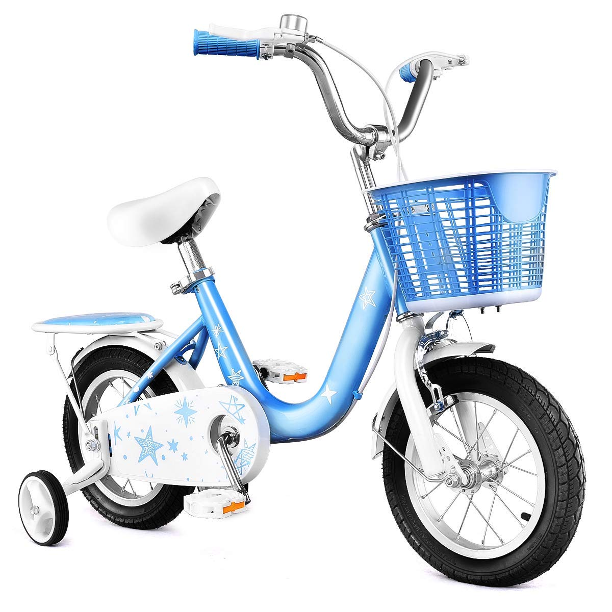 Goplus Kids Bike w/Training Wheels and Basket, 12'' 16'' Boy's and Girl's Bicycle, Gift for Children Kids Balance Bike (Blue, 16'')