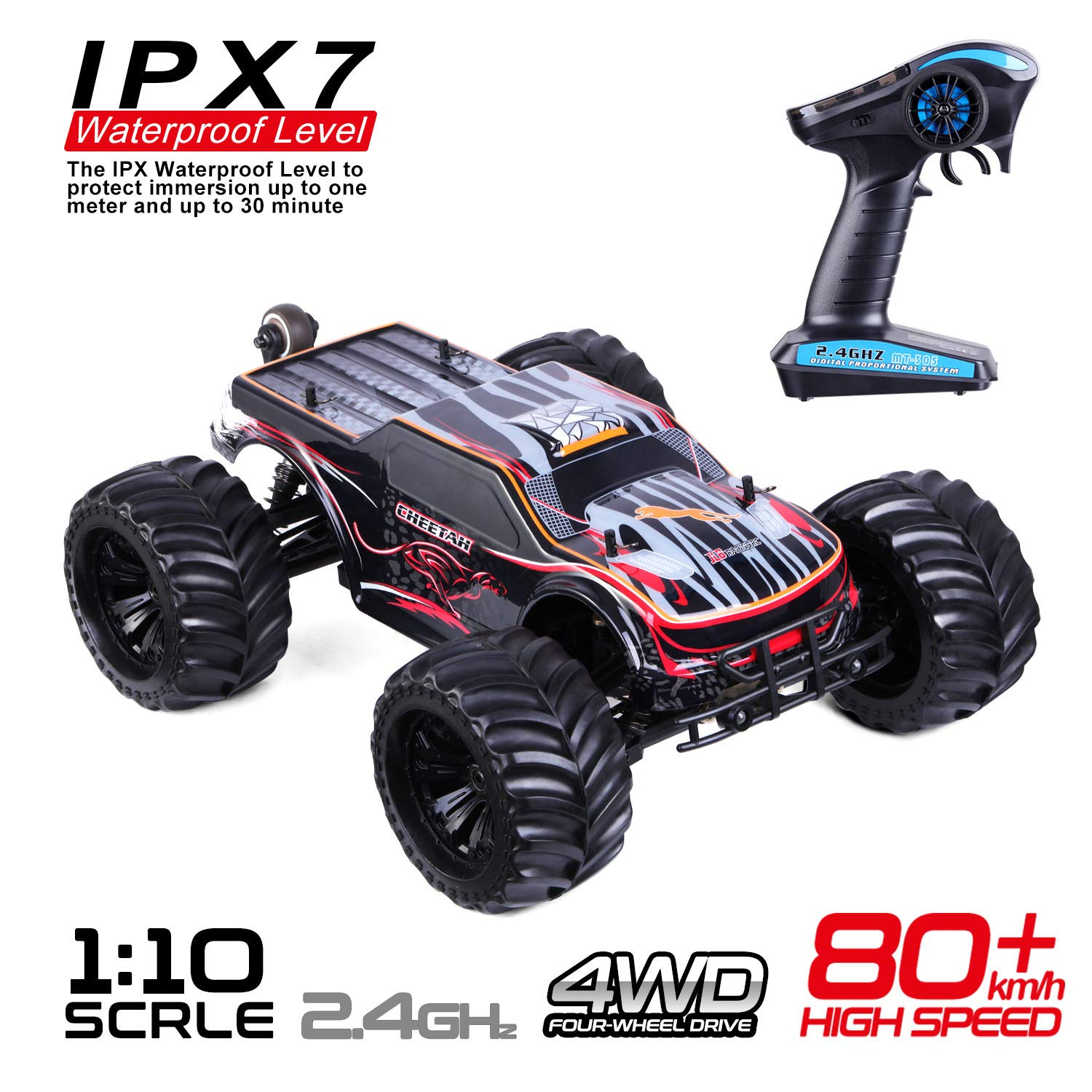 JLBRACINGRC Super Fast 1/10 Scale Cheetah RC Car, 80 KM/H 4WD 2.4GHZ RC Truck with 120A ESC IPX7 Waterproof 3670 2500KV Brushless Motor Wheelie Function 4x4 Off Road RTR RC Monster Truck for Adults
