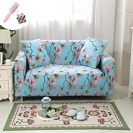 Funda Sofá de 3 plazas Universal Estiramiento, Morbuy Planta Flores Estampado Sofá Cubre Sofá Funda Furniture Protector Antideslizante Elastic Soft ...