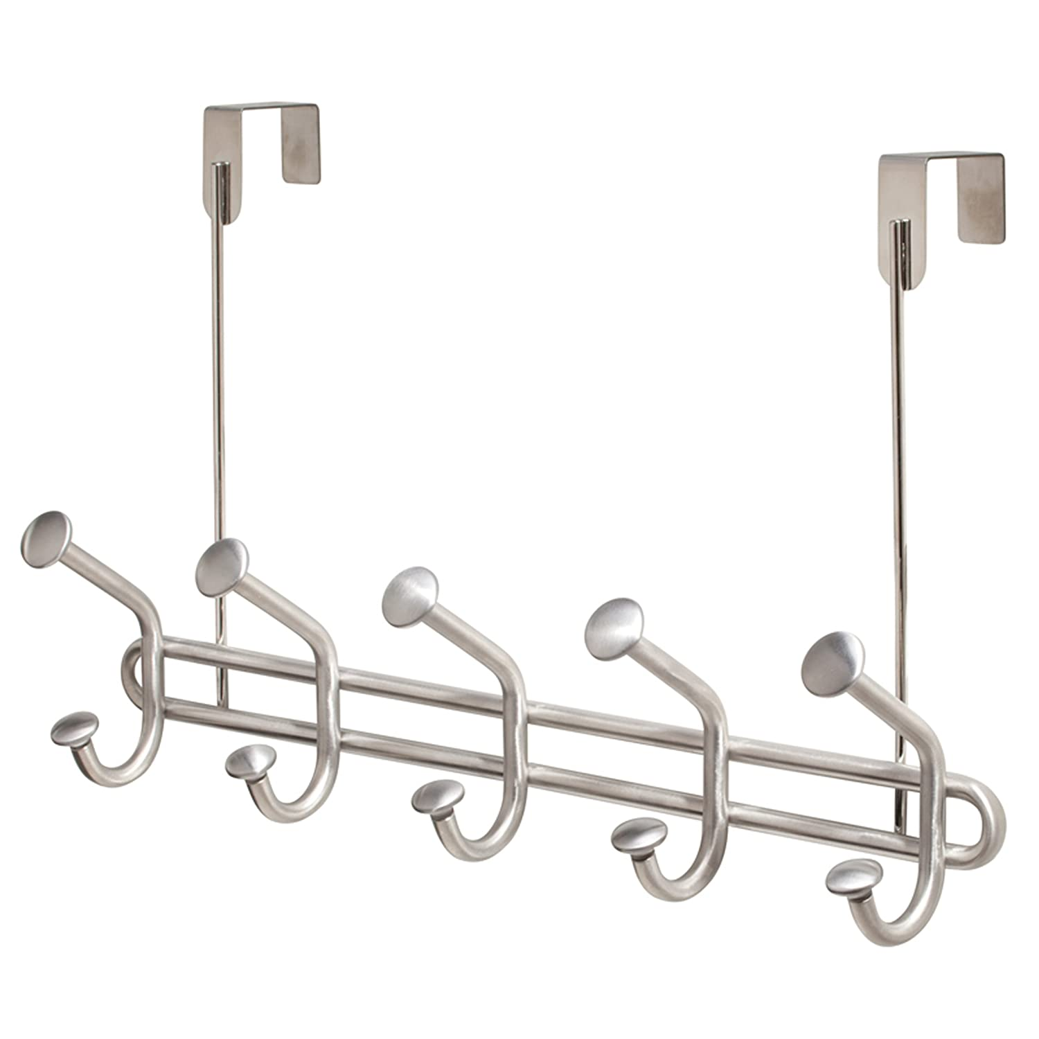 InterDesign Forma Ultra Over the Door Organizer Hooks for Coats, Hats, Robes, Towels - 6 Hooks, Brushed Stainless 80060