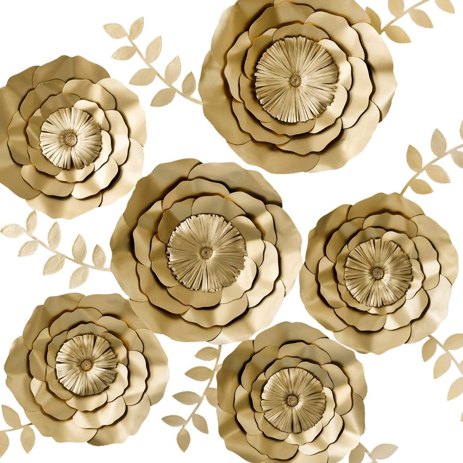 KEY SPRING 3D Paper Flower Decorations, Giant Paper Flowers, Large Handcrafted Paper Flowers (Gold, Set of 6) for Wedding Backdrop, Bridal Shower, Wedding Centerpieces, Nursery Wall Decor
