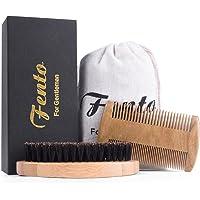 Fento Boar Bristle Beard Brush and Beard Comb Set for Men Beard and Mustache