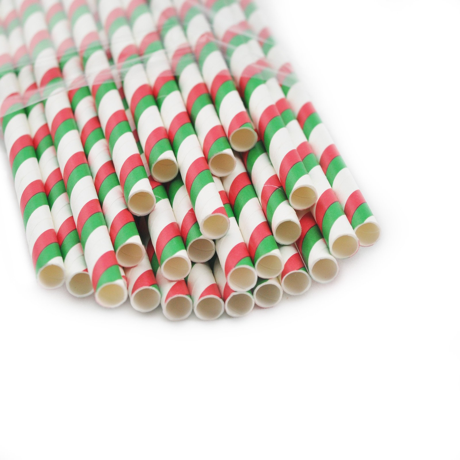 Striped Paper Drinking Straws for Party Table Decoretions- Red and Green Double Stripes 25PCS/ Bag