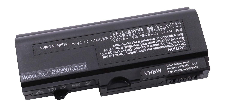 vhbw BATERIA PARA TOSHIBA MINI NETBOOK NB100, NB100-10x, NB100-10Y etc. 8800mAh, 7.4V, Color negro, reemplazo de baterías PA3689, PA3689U-1BAS etc.