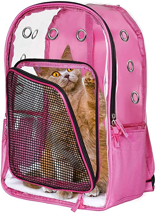 Lyns Bolsa para Mascotas, Mochila pequeña para Gatos/Perros, Bolsa de Viaje para Mascotas, Todo Transparente, Impermeable y liviano, Transpirable, Porta Mascotas (Rosado): Amazon.es: Productos para mascotas