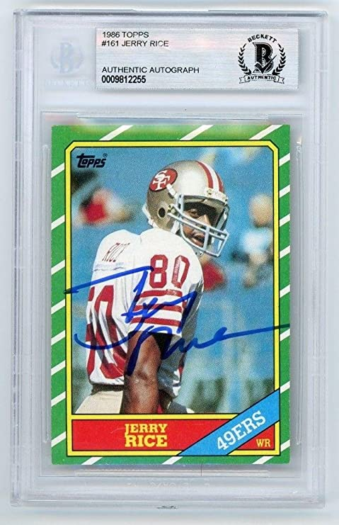 Jerry Rice 1986 Topps Football Autograph Auto Rookie Card 161 Bas