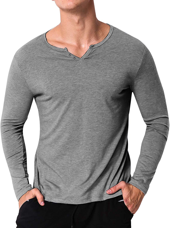 Camiseta de manga larga para hombre de Modchok, cuello en V, manga ...