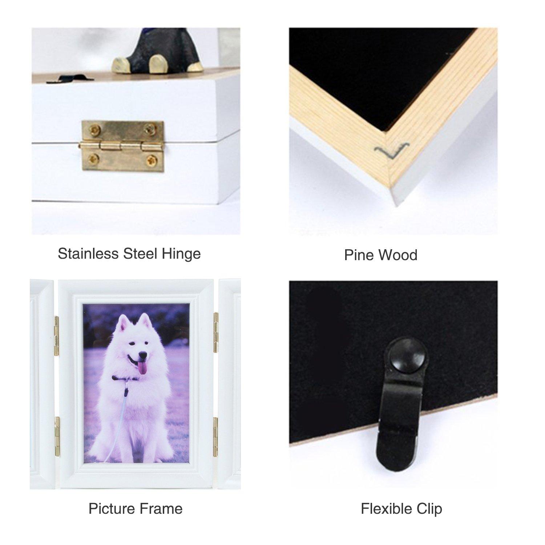 YAMI Pet Memorial Frames Cat or Dog Paw Print Keepsake Triple ...