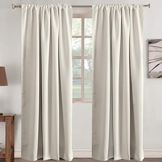 Amazon Com Window Treatment Elegant Curtains For Living Room Home Decor Panels Rod Pocket Tab Curtain Drapes Thermal Insulated Room Darkening Window Drapes 2 Panel Cream Beige 52 Inch Wide By 84 Inch