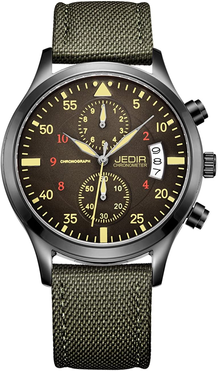 JEDIR Men Military Chronograph Quartz Wrist Watch Analog Number Dial with Date Window Metal Case