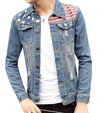 85a08b049 SHOWNO Mens Lapel Collar American Flag Trucker Denim Jackets Outwear ...