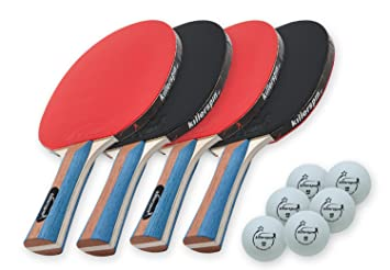 Killerspin JETSET4 - Table Tennis Set with 4 Ping Pong Bats and 6 ...