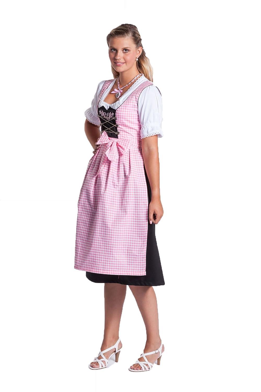 Midi Dirndl 3-teilig in Rosa/Weiß/Schwarz - weiße Dirndlbluse - rosa/weiß karrierte Schürze - FROHSINN