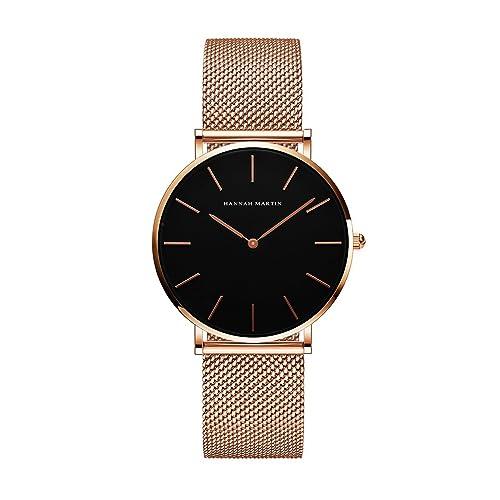 レディース 腕時計 Hannah Martin おしゃれ クラシック シンプル 女性 時計 ビジネス 日本製クォーツ watch for women(ローズゴールド)